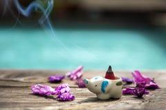 Kadzidłowy rożek lub gumowy beniamin w ceramicznym kadzidłowym palniku z suchym obraz royalty free