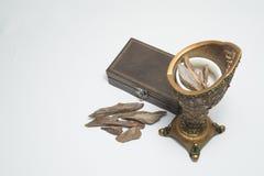 Kadzielnica, agaru drewno: Oud, kadzidło Szczerbi się, odizolowywał na tle, Obraz Royalty Free