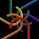 Kaeidoscope arrangement of colored hangers Stock Photos