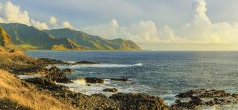 Kaena点日落的国家公园,奥阿胡岛,夏威夷,美国 库存照片