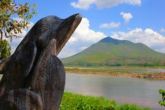 Kaeng Khut Khu en Khong-riviermening royalty-vrije stock afbeelding