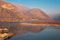 Kaeng Kor is big lake which surrounded by mountains with housebo Royalty Free Stock Image