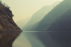 Kaeng Kor is big lake which surrounded by mountains Royalty Free Stock Photography