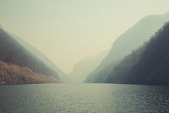Kaeng Kor is big lake which surrounded by mountains Royalty Free Stock Photo