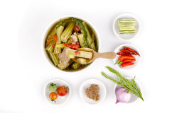 Kaeng Marum (northern thai name), Moringa curry with pork (Moringa oleifera Lam.) Royalty Free Stock Images