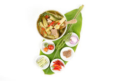 Kaeng Marum (northern thai name), Moringa curry with pork (Moringa oleifera Lam.) Stock Photos