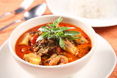 Kaeng Pled Ped Yang (Roasted Duck in Red Curry), Popular Thai fo stock image