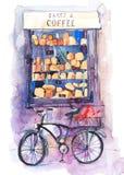 Kafé-bageri sikt av en variation av bakelser i ett fönster sortiment bakat bröd vektor illustrationer