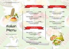 Kafé för kokkonst för vektortecknad film italienskt eller illustration för restaurangmenymall royaltyfri illustrationer