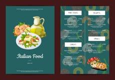 Kafé för kokkonst för vektortecknad film italienskt eller restaurangmeny vektor illustrationer