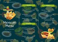 Kafé för mat för vektortecknad film mexikanskt eller illustration för restaurangmenymall stock illustrationer