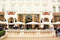 Kafé Gerbeaud i Budapest, Ungern Arkivbild