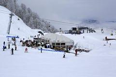 Kafé i bergen på en höjd av 1600 Arkivbild