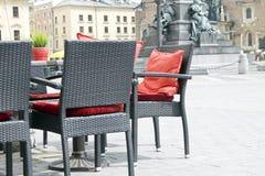 Kafé i stadmarknad Fotografering för Bildbyråer