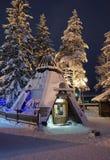 Kafé på det Santa Claus kontoret i Rovaniemi som är i Lapland i Fi Arkivfoto