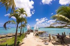 Kafé på kusten av det karibiska havet, Bayahibe, La Altagracia, Dominikanska republiken Kopiera utrymme för text Royaltyfria Bilder