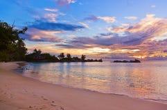 Kafé på Seychellerna den tropiska stranden på solnedgången Arkivbild