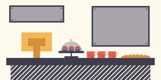 Kafé-, restaurang- eller bageriförsäljningsräknare Arkivbilder