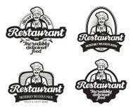 Kafé restaurangvektorlogo matställe eaterysymbol vektor illustrationer
