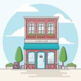 Kafébyggnad royaltyfri illustrationer