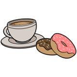 KaféDonuts och kaffe stock illustrationer