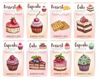 Kaféefterrättmeny Skissade muffin, kakaetiketter stock illustrationer