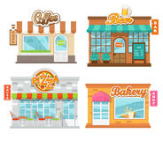 Kaféer för vektorillustrationlägenhet och shoppar Arkivbild