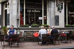 Kaférestaurang i Amsterdam arkivbilder