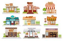 Kafét restaurangen, bageri shoppar, pizzakafét, kaffe, plan vektor Royaltyfri Fotografi