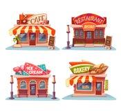 Kafét restaurangen, glass shoppar och bagerit stock illustrationer