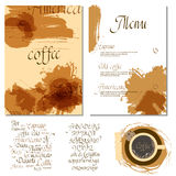 Kafe menu set. Coffee drink menu Set of artistic creative universal Hand Drawn textures with cursive lettering and different coffee  Abstract watercolor Royalty Free Stock Image