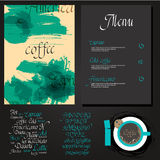 Kafe menu set. Coffee drink menu Set of artistic creative universal Hand Drawn textures with cursive lettering and different coffee  Abstract watercolor Stock Photography