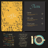 Kafe menu set. Coffee drink menu Set with cursive lettering and different coffee recipes Stock Photography
