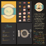 Kafe menu set. Coffee drink menu Set with cursive lettering and different coffee recipes. cakes and cupcakes macaroon Stock Image