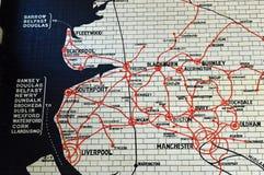 Kafelkowa Lancashire i Yorkshire Kolejowa mapa obrazy stock