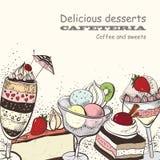 Kafeteria sötsaker, läcker efterrätt stock illustrationer