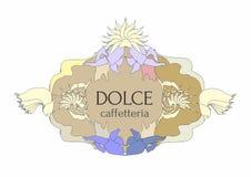 Kafeteriaetikett med italiensk text i retro stil royaltyfri illustrationer