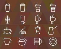 Kaffeöversiktsbeståndsdelar och symbollinje symbol vektor illustrationer