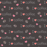 kaffe älskar jag den seamless modellen Arkivfoto