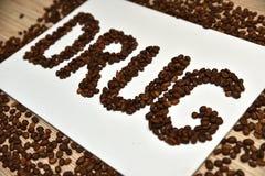 Kaffe är drogen Arkivfoto