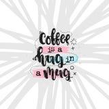 Kaffe är en kram i en råna vektor illustrationer