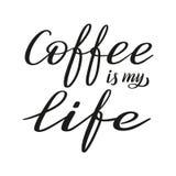 Kaffe är min förälskelse Borstepennbokstäver vektor royaltyfri illustrationer