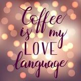Kaffe är mitt förälskelsespråk stock illustrationer