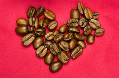 Kaffe Bean Heart Arkivfoton