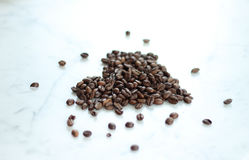 Kaffe Bean Heart Royaltyfria Bilder