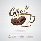 Kaffe Bean Vector Template royaltyfri illustrationer