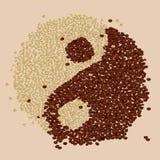Kaffe Bean Yin-Yang Arkivbild