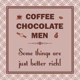 Kaffe choklad, män, någon saker är precis bättre rich Arkivbild