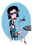 kaffe dricker den risque kvinnan arkivfoton