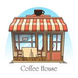 Kaffe- eller tehusbyggnad Kafeteria kafé stock illustrationer
